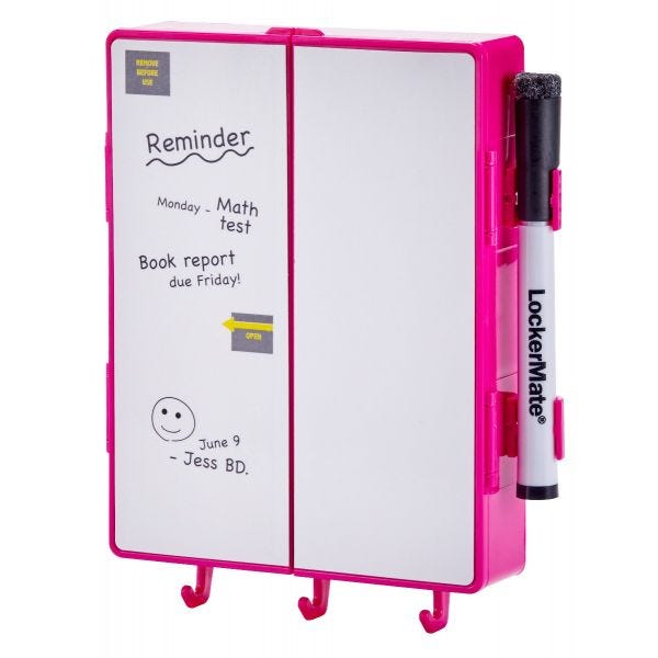 LockerMate Magnetic Locker Mirror Kit, Pink
