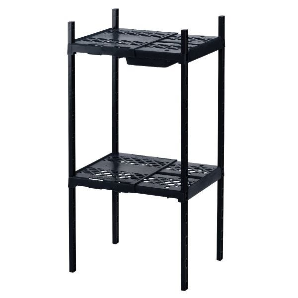 LockerMate Adjustable Double Locker Shelf with Drawer, Black