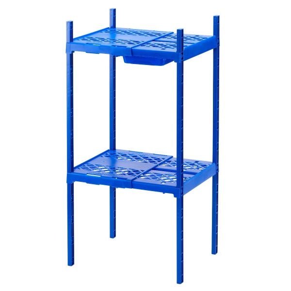LockerMate Adjustable Double Locker Shelf with Drawer, Blue