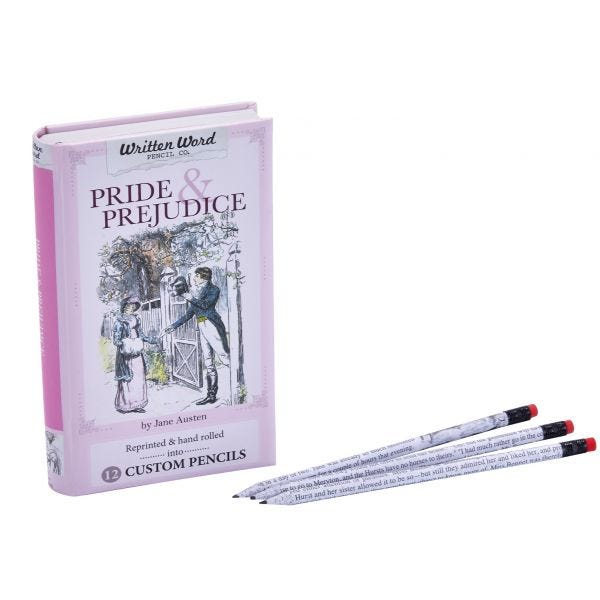 Written Word Pencil Co. 12-Pack Pre-Sharpened Pencils and Box, Pride and Prejudice Theme
