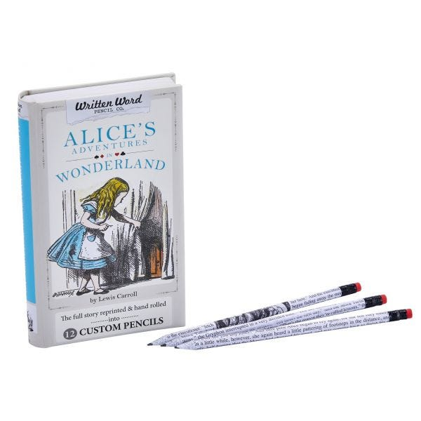 Written Word Pencil Co. 12-Pack Pre-Sharpened Pencils and Box, Alice in Wonderland Theme