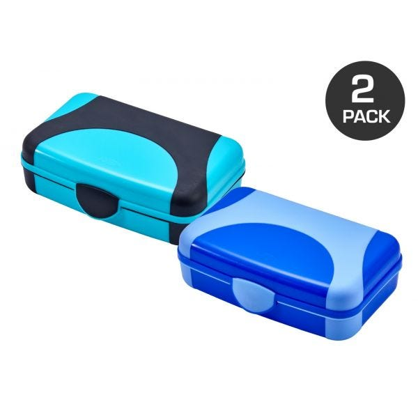 It's Academic Plastic Storage Boxes, Blue and Turquoise, 2-Pack