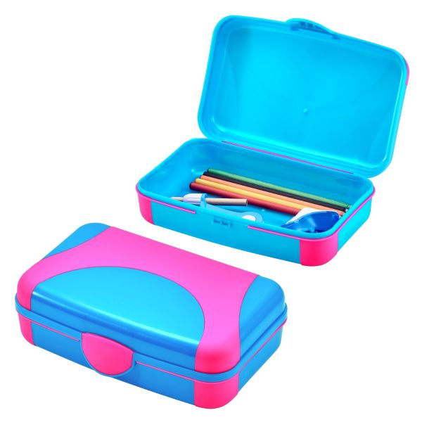 Pink and Blue Hard Plastic Pencil Box