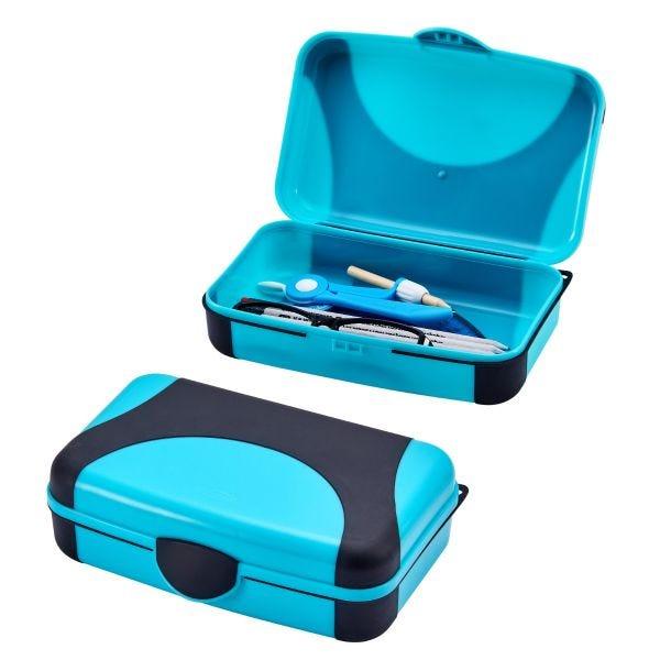 Turquoise Hard Plastic Pencil Box